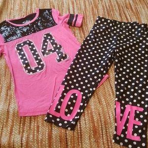 Girls 10 12 justice leggings shirt bundle polkadot